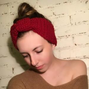 Red Crocheted Headband, Crocheted Ear Warmers, Women's Headband