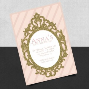 Printed Vintage Mirror styled Birthday Invitation