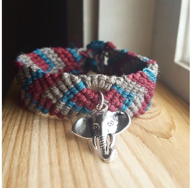 Elephant Charm Macrame Cuff Hemp Bracelet, Bohemian Jewelry, Chevron Pattern