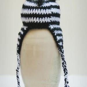 Crocheted Striped Zebra Beanie