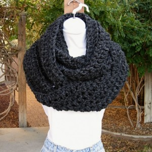Large Wide INFINITY SCARF Cowl Loop, Charcoal Dark Gray with Black, Bulky Chunky Soft Wool Blend Crochet Knit Winter Circle Big Wrap