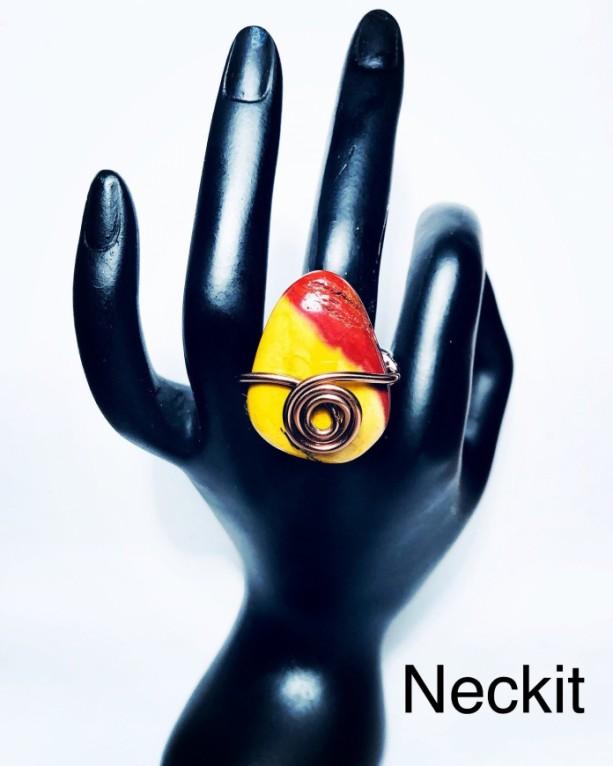 Mookaite Mustard and Dark Red Decorative Stone Ring