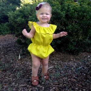 Ruffle Neckline Baby Girl Organic Romper