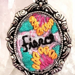 """Fierce"" Embroidery Hoop Art Necklace"