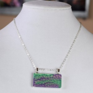 Hand Painted Mixed Media Necklace with Chain