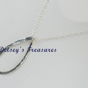 Trendy Hammered Sterling Silver Pendant Chain Necklace