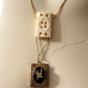 OOAK Vintage Carved Bone Flower Locket Pendant Sautoir Necklace