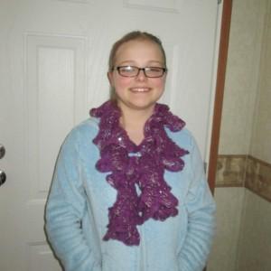 Women's Hand Knit Scarf- Magenta