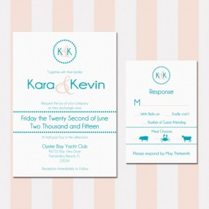 Turquoise and Peach Beach Wedding Invitation, Printed, Custom Invitation, Letterpress, Flat Printed, Shabby Chic, Beach Wedding, Deposit