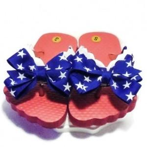 Flip Flops Red White Blue  // Girls Flip Flop Shoes - Toddler Flip Flops - Girls Sandals - Ribbon Flip Flops