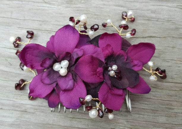 Deep violet Bridal Hair Comb, Wedding Comb, Decorative Comb, Floral Wedding Comb, Freshwater Pearls, KathyJohnson, violet gemstones, comb