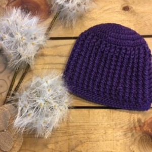 Handmade crochet beanie purple