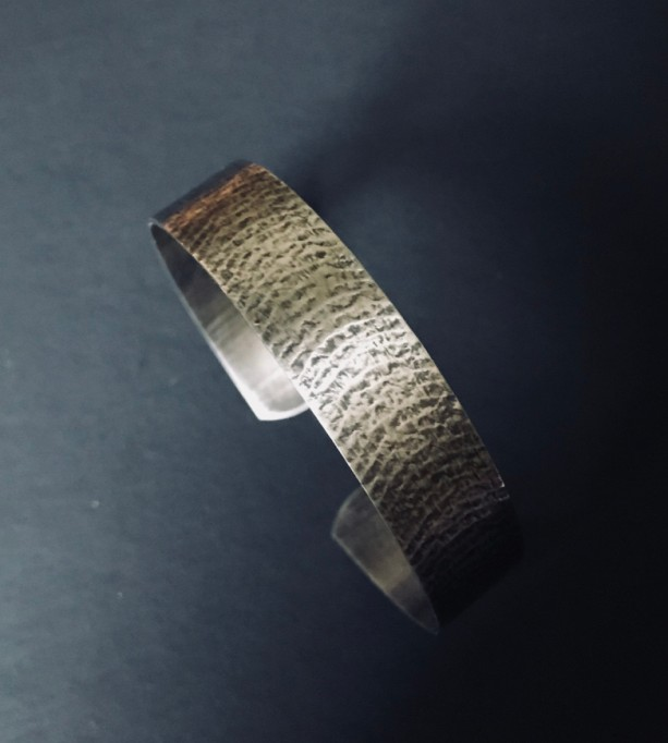 Handcrafted Sterling Silver Roller Printed Oxidized Cuff Bracelet.
