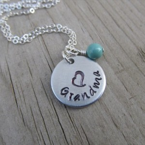 "Grandmother's Necklace- Hand-stamped ""Grandma"" with a stamped heart and an accent bead in your choice of colors - Jenn's Handmade Jewelry"