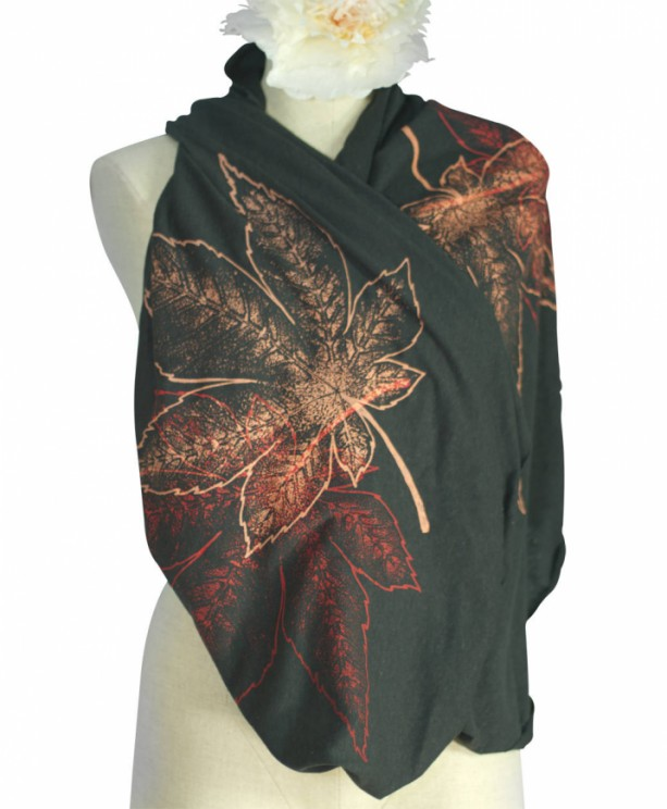 Black Triblend Screen Printed Momiji, Maple Leaves Infinity Scarf, Botanical, Sustainable, Back To School, Fall, Winter, Spring, Made in USA