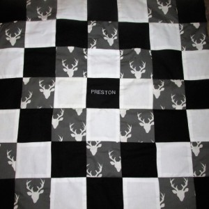 Brand New Handmade DEER ANTLERS Baby Quilt  (Embroidered Name Added Free)