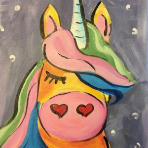 Yellow Unicorn Painting Acrylic on Canvas- Free Shipping