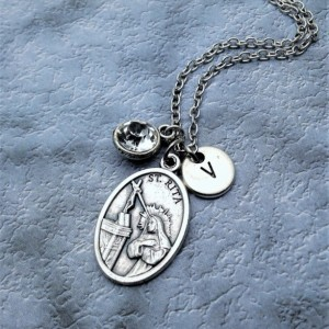 Personalized Silver Plated Saint Rita Necklace. Patron Saint of Abused Women, Spousal Abuse, Bad Marriages, and Widows