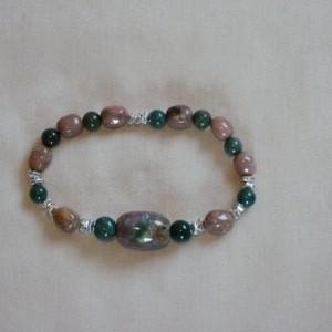 Pink Green Agate Elastic Bracelet