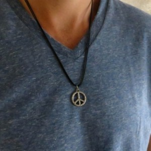 Men's Necklace - Men's Peace Necklace - Men's Vegan Necklace - Men's Jewelry - Men's Gift - Husband Gift - Boyfriend Gift - Gift For Dad