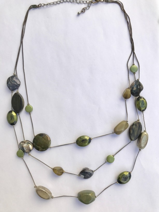 Handmade Green Tiered Stone Necklace