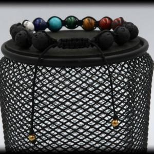 Lava Rock Chakra Macrame Bracelet for Cleansing the Chakras