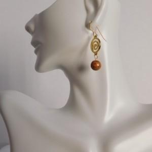 Jade Dangle Earrings, Desert Tone Colors