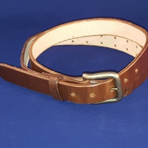"Small Adjustable Leather Belt, 28"" to 36"" Waist Size, 1-1/4"" Wide"