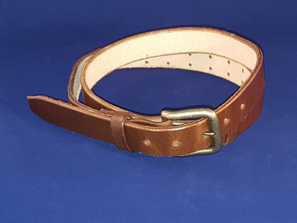 """Small Adjustable Leather Belt, 28"""" to 36"""" Waist Size, 1-1/4"""" Wide"""