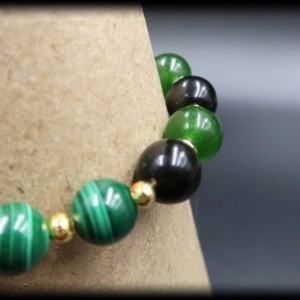 Malachite, Jade and Obsidian Gemstone Bracelet for Luck and Transformation