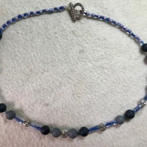 "Night & Day handmade beaded necklace 21"" long"