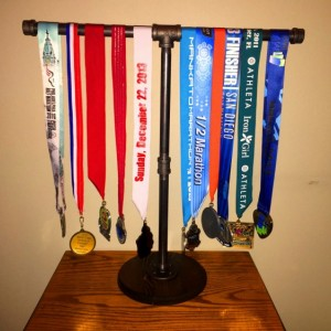 Sports Medal Display Stand industrial Black Pipe Marathon,26.1, Half Marathon, 13.1, 10 K, 5 K, Sprint Tri, Tri,Iron Man Medal Display Stand
