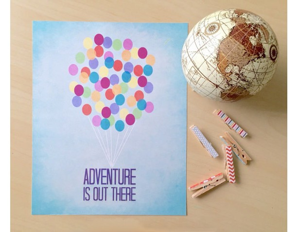 Pixar Up   Adventure Is Out There Art Print   Nursery Art Print   Disney Pixar Quote Poster   Carl and Ellie Quote