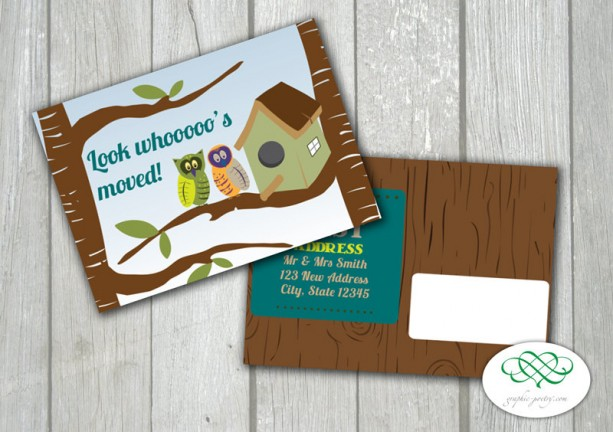 "Look Whooo's Moved! - Printable 4.25"" x 6"" Postcard PDF file"