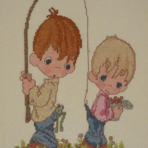 Precious Moments Fishing Whimsical Stitched Art