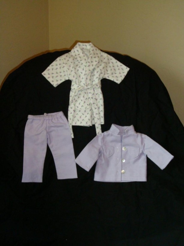 "18"" Doll Pajama Set with Flannel PJs and Bathrobe"