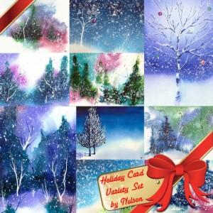 Holiday Card Set, Christmas Card Set, Winter Solstice Card, Art Cards, Holiday & Seasonal Cards, Family Christmas Cards, Hanukkah, Set of 10