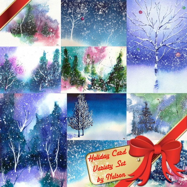Holiday Card Set, Christmas Card Set, Winter Solstice Card, Art Cards, Holiday & Seasonal Cards, Family Christmas Cards, Hanukkah, Set of 10