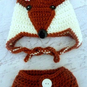 Mister or Miss Fox Crocheted Hat for Infants through Adult Sizes and Optional Matching Diaper Cover
