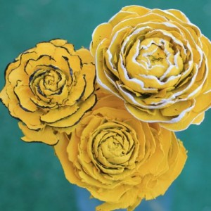 Yellow Hand-Painted Cedar Rose Pine Cone Flower