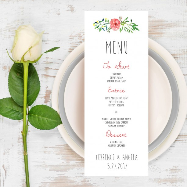 Wedding Menu, Wedding Dinner Menu, Watercolor Wreath, Dinner Menu, DIY Printable, Menu Printable, Whimsical, Rustic, Instant Download
