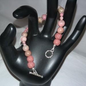 Rhodonite Gemstones w/Lava Stone Diffuser Bracelet