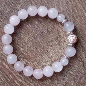 Healing Rose Quartz Bracelet With Pave Crystal Ball