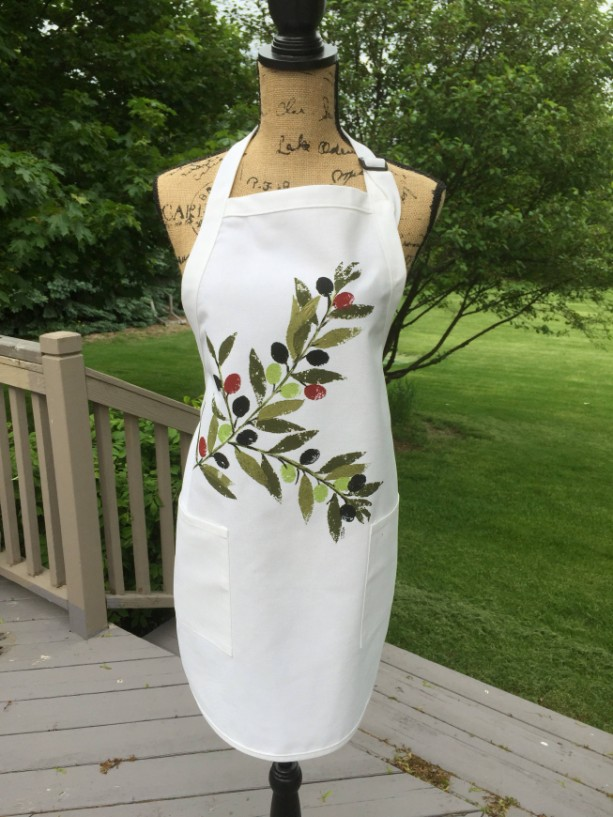 Olive branch apron for women, full apron with pockets, best selling items, mediterranean kitchen gifts, peace gift, mom gift