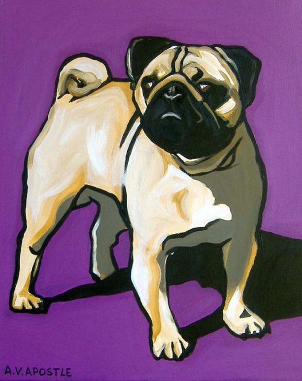 DOG PRINT- Pug Dog- Purple Background- Signed by Artist A.V.Apostle
