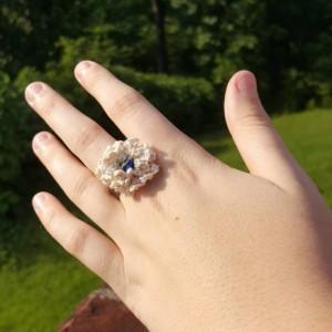 Flower Ring - Statement Ring - Cream - Crochet - Boho Ring
