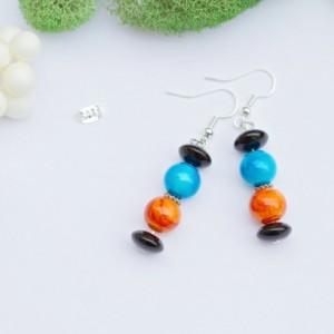 Bronco colored glass earrings/Nickel Free/Blue and orange glass, Jet black donut rondelle, tibetan silver/Football/Denver/Under 20 dollars