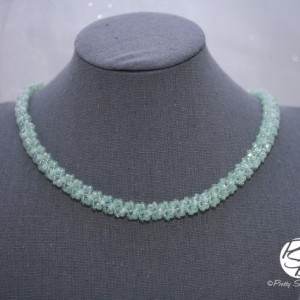 Pale Green Woven Crystal Necklace