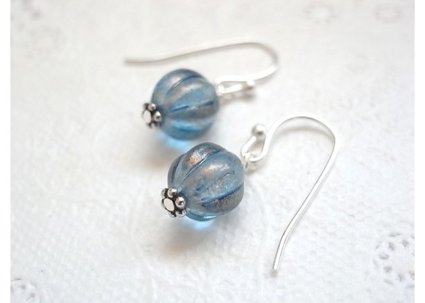 Earrings Blue Color Melon Beads Tiny Aqua Summer Antique Style Silver Plated Dangle Drop Czech Beads Resort Beach Jewelry Accessory Glass