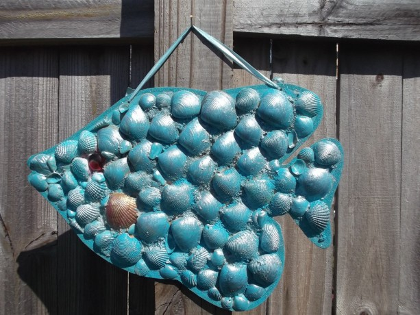 Aqua Blue Fish  seashells on pressed wood